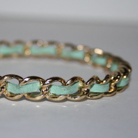 Gold and teal bangle bracelet 7""